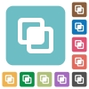 Intersect shapes rounded square flat icons - Intersect shapes white flat icons on color rounded square backgrounds