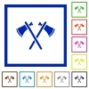 Two tomahawks flat framed icons - Two tomahawks flat color icons in square frames on white background