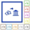 Cash deposit to bank flat color icons in square frames on white background - Cash deposit to bank flat framed icons