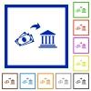 Cash deposit to bank flat framed icons - Cash deposit to bank flat color icons in square frames on white background