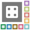 Dice four square flat icons - Dice four flat icons on simple color square backgrounds