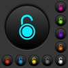 Unlocked round padlock dark push buttons with color icons - Unlocked round padlock dark push buttons with vivid color icons on dark grey background