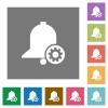 Reminder settings square flat icons - Reminder settings flat icons on simple color square backgrounds
