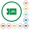 Bicycle shop discount coupon flat icons with outlines - Bicycle shop discount coupon flat color icons in round outlines on white background