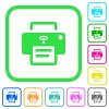 Wireless printer vivid colored flat icons - Wireless printer vivid colored flat icons in curved borders on white background