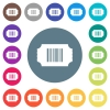 Ticket with barcode flat white icons on round color backgrounds - Ticket with barcode flat white icons on round color backgrounds. 17 background color variations are included.