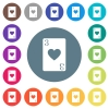 Three of hearts card flat white icons on round color backgrounds - Three of hearts card flat white icons on round color backgrounds. 17 background color variations are included.
