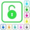Unlocked round padlock with keyhole vivid colored flat icons - Unlocked round padlock with keyhole vivid colored flat icons in curved borders on white background