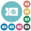 Movie discount coupon flat round icons - Movie discount coupon flat white icons on round color backgrounds