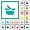Shopping basket flat color icons with quadrant frames - Shopping basket flat color icons with quadrant frames on white background