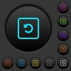 Rotate object left dark push buttons with color icons - Rotate object left dark push buttons with vivid color icons on dark grey background