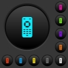 Remote control dark push buttons with color icons - Remote control dark push buttons with vivid color icons on dark grey background
