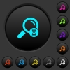Search in progress dark push buttons with color icons - Search in progress dark push buttons with vivid color icons on dark grey background