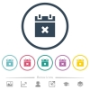 Cancel schedule flat color icons in round outlines. 6 bonus icons included. - Cancel schedule flat color icons in round outlines