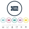 10 percent discount coupon flat color icons in round outlines - 10 percent discount coupon flat color icons in round outlines. 6 bonus icons included.