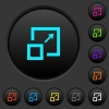 Enlarge window dark push buttons with color icons - Enlarge window dark push buttons with vivid color icons on dark grey background