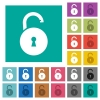 Unlocked round padlock with keyhole square flat multi colored icons - Unlocked round padlock with keyhole multi colored flat icons on plain square backgrounds. Included white and darker icon variations for hover or active effects.
