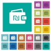 Israeli new Shekel wallet square flat multi colored icons - Israeli new Shekel wallet multi colored flat icons on plain square backgrounds. Included white and darker icon variations for hover or active effects.