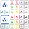 Cubes color flat icons in rounded square frames. Thin and thick versions included. - Cubes outlined flat color icons