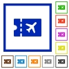 Air travel discount coupon flat framed icons - Air travel discount coupon flat color icons in square frames on white background