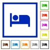 Hotel flat framed icons - Hotel flat color icons in square frames on white background