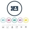 Suits shop discount coupon flat color icons in round outlines - Suits shop discount coupon flat color icons in round outlines. 6 bonus icons included.
