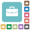 Satchel with one buckle rounded square flat icons - Satchel with one buckle white flat icons on color rounded square backgrounds