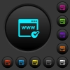 Domain registration dark push buttons with color icons - Domain registration dark push buttons with vivid color icons on dark grey background