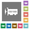Gigabit ethernet network controller flat icons on simple color square backgrounds - Gigabit ethernet network controller square flat icons