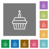 Birthday cupcake square flat icons - Birthday cupcake flat icons on simple color square backgrounds