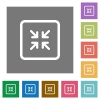 Shrink object square flat icons - Shrink object flat icons on simple color square backgrounds