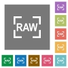 Camera raw image mode square flat icons - Camera raw image mode flat icons on simple color square backgrounds