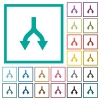Split arrows down flat color icons with quadrant frames - Split arrows down flat color icons with quadrant frames on white background