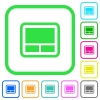 Laptop touchpad vivid colored flat icons - Laptop touchpad vivid colored flat icons in curved borders on white background