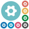Single cogwheel flat white icons on round color backgrounds - Single cogwheel flat round icons