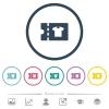 Clothes shop discount coupon flat color icons in round outlines - Clothes shop discount coupon flat color icons in round outlines. 6 bonus icons included.