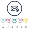 Write mail flat color icons in round outlines. 6 bonus icons included. - Write mail flat color icons in round outlines