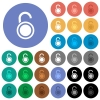 Unlocked round padlock round flat multi colored icons - Unlocked round padlock multi colored flat icons on round backgrounds. Included white, light and dark icon variations for hover and active status effects, and bonus shades.