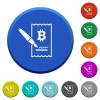 Signing Bitcoin cheque beveled buttons - Signing Bitcoin cheque round color beveled buttons with smooth surfaces and flat white icons