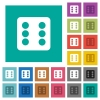 Dice six square flat multi colored icons - Dice six multi colored flat icons on plain square backgrounds. Included white and darker icon variations for hover or active effects.