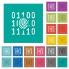 Digital fingerprint square flat multi colored icons - Digital fingerprint multi colored flat icons on plain square backgrounds. Included white and darker icon variations for hover or active effects.