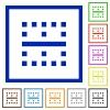 Horizontal border flat framed icons - Horizontal border flat color icons in square frames on white background