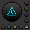 Emergency call dark push buttons with color icons - Emergency call dark push buttons with vivid color icons on dark grey background