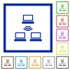 Wireless network flat framed icons - Wireless network flat color icons in square frames on white background