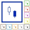 Two candlesticks flat framed icons - Two candlesticks flat color icons in square frames on white background