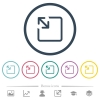 Resize object flat color icons in round outlines - Resize object flat color icons in round outlines. 6 bonus icons included.