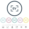 Camera exposure value setting flat color icons in round outlines - Camera exposure value setting flat color icons in round outlines. 6 bonus icons included.