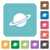 Planet rounded square flat icons - Planet white flat icons on color rounded square backgrounds