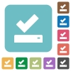 Successfully saved rounded square flat icons - Successfully saved white flat icons on color rounded square backgrounds