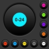 24 hours sticker dark push buttons with color icons - 24 hours sticker dark push buttons with vivid color icons on dark grey background